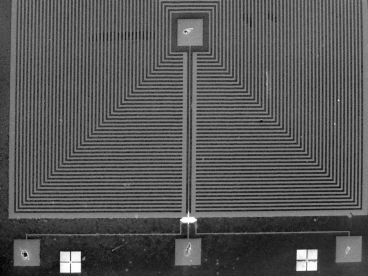 SEM image of a slotted flux concentrator with sensor