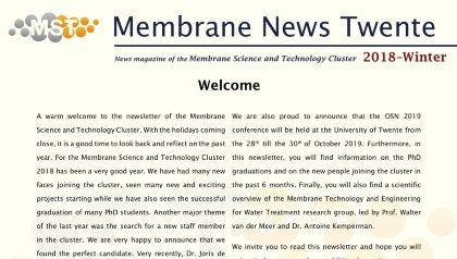 Membrane News Twente Winter 2018 is out now!!!