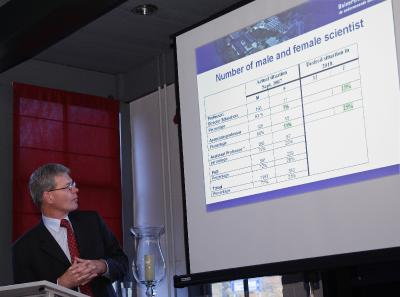 Dr. Anne Flierman, Executive Board Director of the UT, shows figures for the University of Twente, during his opening remarks at last week's FFNT conference.