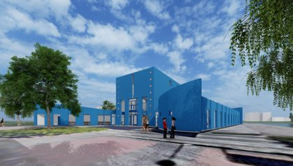 Sky-blue Drienerburght building for University College Twente (ATLAS)