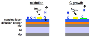surface contamination mechanisms of oxidation and carbon growth