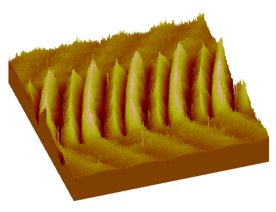 Deformation of a piezoelectric thin film, imaged by Scanning Tunneling Microscopy.