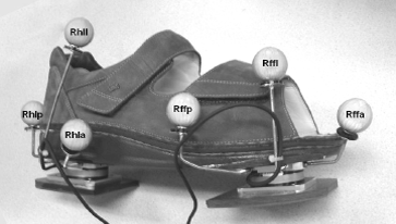 Figure 3: Sensor shoe with two miniature 6-D force plates mounted to measure ground reaction forces. For evaluation purposes some markers for motion capture are mounted as well.