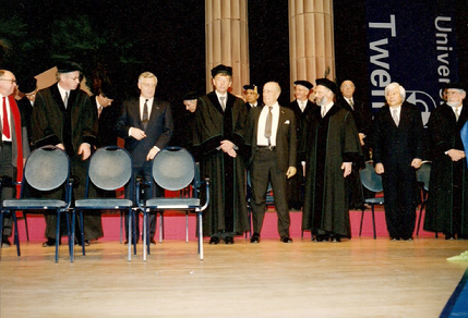 The honorary doctors in a row during the ceremony