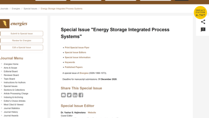 "Special Issue ""Energy Storage Integrated Process Systems"""